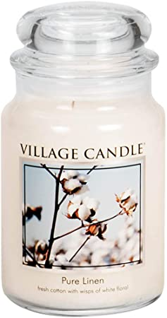 Amazon Com Village Candle Pure Linen Large Glass Apothecary Jar Scented Candle 21 25 Oz White Home Kitchen