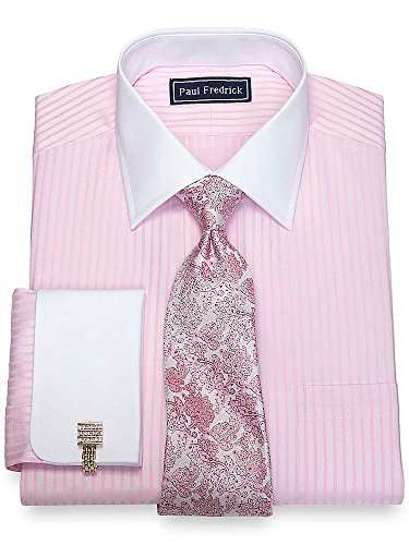 Paul Fredrick Men's Cotton Twill Stripe Dress Shirt Pink 17.5/34