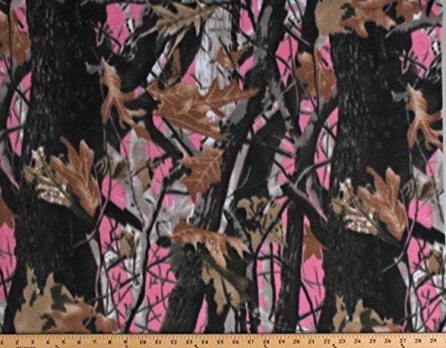 Fleece Deep Woods Camo Pink Camouflage Fleece Fabric Print by The Yard - Camo Pink Fabric