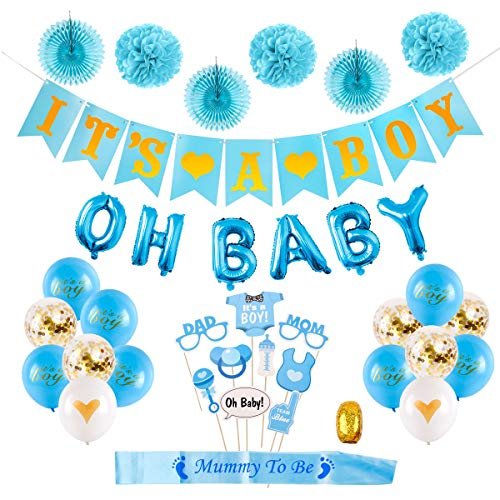 HuiRan Baby Shower Decorations Boy Kit- It's a Boy Banner,OH Baby Letters Balloons,Unique Photo Booth Props,Flower Pom Poms,Fans,Sash, Blue It's a Boy Balloons, Confetti Balloons,Baby Shower -