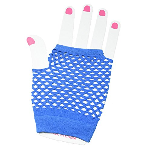 MiDee Fingerless Fishnet Gloves Wrist Length for Dance Performance Wedding Accessoires (Blue) (Length Gloves Wrist Fingerless)
