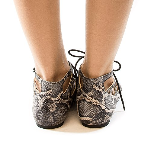 Ankle Flat Caged Toe SnakePu Gray Pointed Up Ballet Lace Trendy wIH0Rq