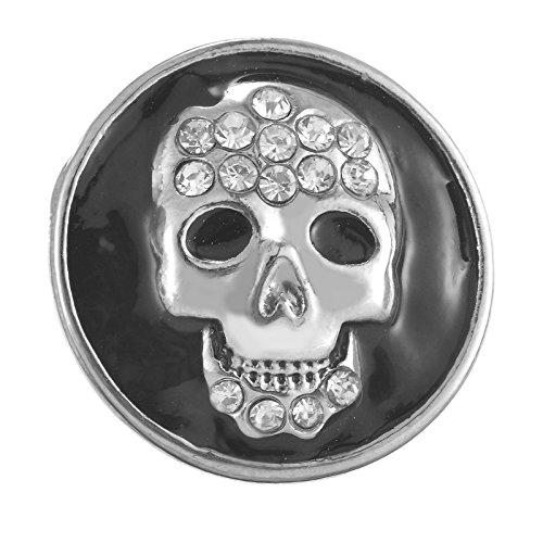 Souarts White Rhinestone Black Enamel Skull Snap Button for DIY Bracelet (Black Skull Snap)