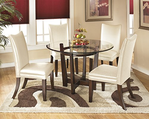 Charrielly Contemporary Medium Brown Round Dining Room Table w/ 4 Ivory Upholstered Side Chair