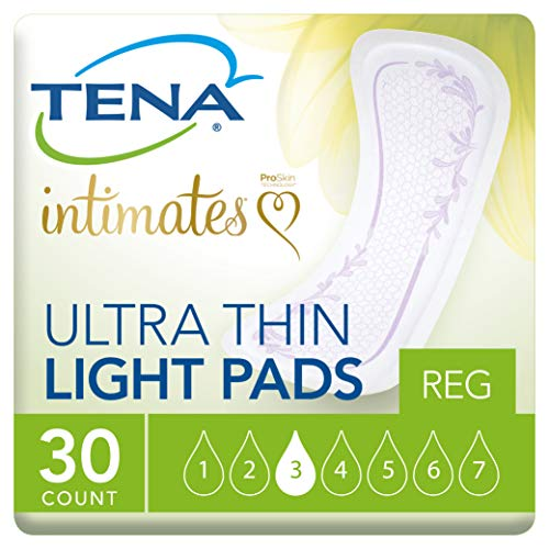 (Tena Incontinence Ultra Thin Pads for Women, Light, Regular, 30 Count)