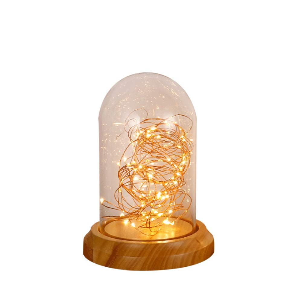 Radciy Creative and Simple Vintage Glass LED Bedroom Bedside Starry Lights Solid Wood Birthday Gift Bar Decoration Table (Size : Small) by Radciy