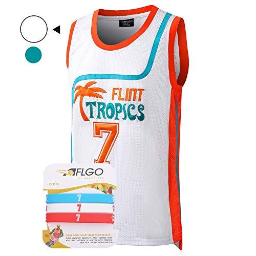 AFLGO Coffee Black 7 Flint Tropics Pro Basketball Jersey Include Set Wristbands S-XXL White (White, Large) -