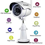 Sumpple Wifi Wireless/Wired 720P Digital Video Outdoor/Indoor IP Network Camera, Night Vision, IP66 Waterproof, Video Record, Snapshot, Motion Detection, Email Alarm, Support IOS, Android or PC White