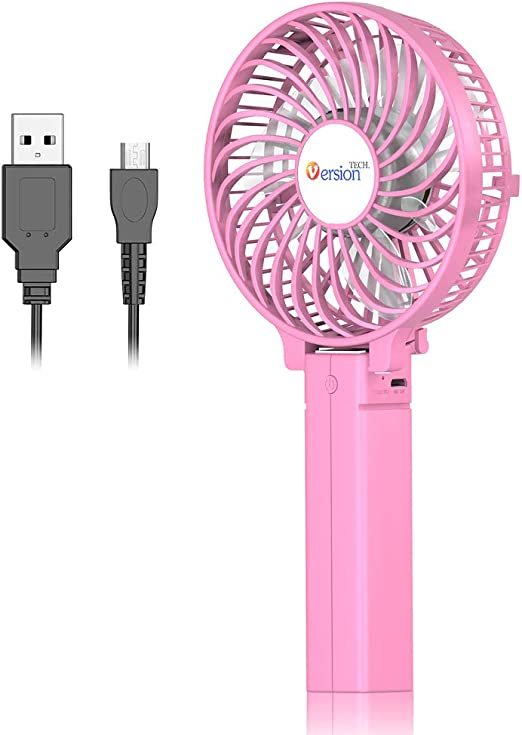 Air Cooling Fan USB Fan 2 Gear Wind 2 Blade Handheld Mini Fan Outdoor Cooling Fan Color : Pink