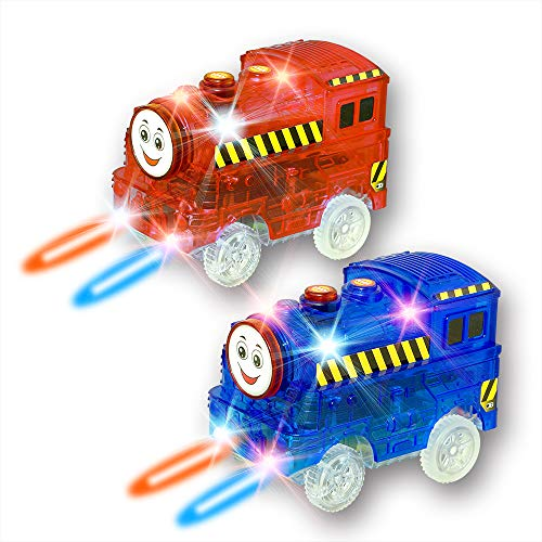 New ideas Track Cars,Light Up Replacement Toy Car (2-Pack) Glow in The Dark Racing Track Compatible with Most Tracks,Boys and Girls (2 Pack (red +Blue))