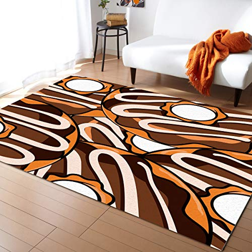 Prime Leader Indoor Modern Area Rugs Contemporary Carpets, Cute Chocolate Donut Pattern, Orange and White 2'× 3' Soft Cozy Home Decor Mat for Children Bedroom Kitchen Bathroom