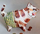 Piggy Bank Money box Cat ceramic sculpture Coin bank Pottery animal Cat lover for 10 year old boy...