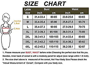 BAIXITE Womens Steampunk Classic Gothic Overbust Corset Tops Bustier Punk Rock Outfits Halloween Costume