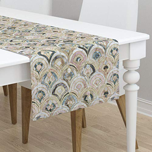 Table Runner - July2016Marbled Marble Stone Quartz Art Deco Tiles Pink Stone Look by Micklyn - Cotton Sateen Table Runner 16 x 108