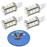 HQRP 4-pack T10 Wedge Base 18 LEDs SMD LED Bulbs Warm White for #194#168 Cruiser RV Fun Finder Travel Trailer RV Interior/Ceiling Lights Replacemen plus HQRP Coaster
