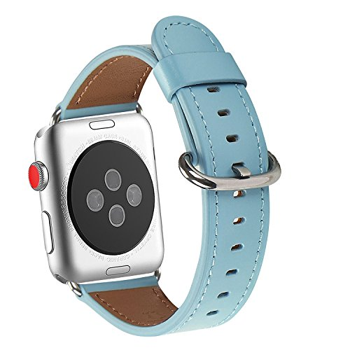 Apple Watch Band 38mm, WFEAGL Retro Top Grain Genuine Leather Band Replacement Strap with Stainless Steel Clasp for iWatch Series 3,Series 2,Series 1,Sport, Edition (Tiffany Blue+Silver - Tiffany Blue Silver And