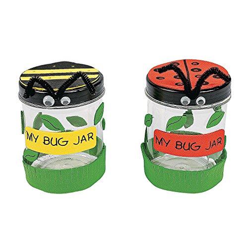 Fun Express - Plastic Bug Jar Craft Kit - Craft Kits - Party Craft Kits - Toys - 12 Pieces