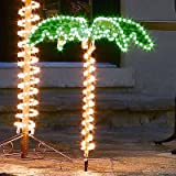 Roman 169483 Lights Tall Holographic Ropelights Palm Tree-Plugs In Statue, 30-Inch