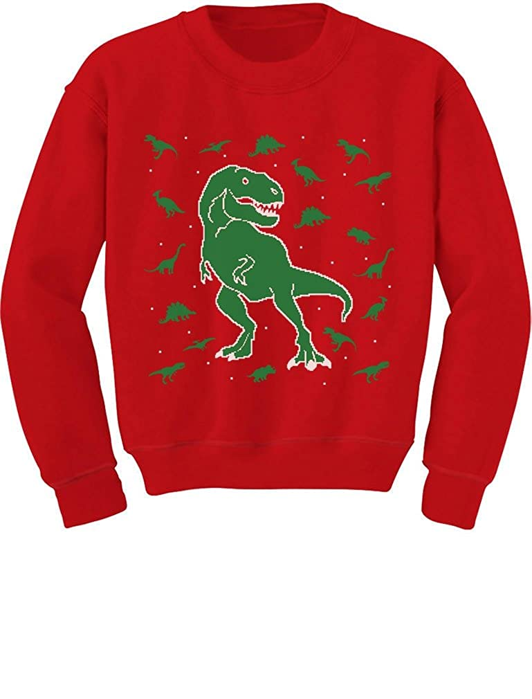 TeeStars - Dinosaur Chaos Cute Holidays Ugly Christmas Toddler/Kids Sweatshirts 4T Red GhPha3agf5Phf59ho