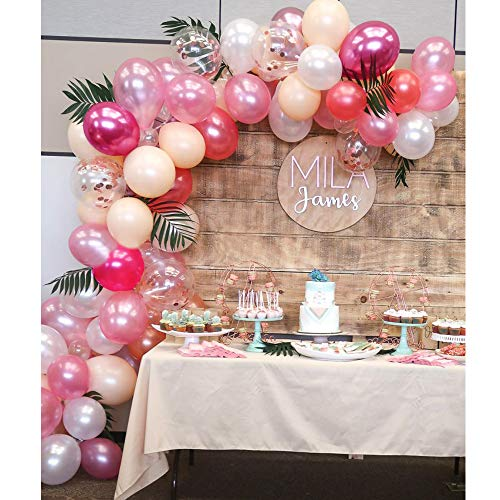 Topllon Latex Balloons Confetti Balloons Pink 12 Inch 61 PCS Matte Pink Blush Balloons Arch Kit for Baby Shower Princess Birthday Party Decorations Wedding Supplies - 8 Colors -