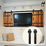 WINSOON 6FT Black Steel Bending Wheel Mini Sliding Barn Door Track Roller Hardware for Cabinet TV Stand Set (Mini 6FT / Double Kit)