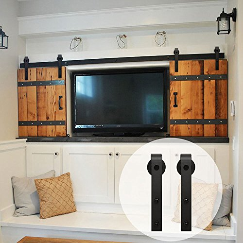 WINSOON 6FT Black Steel Bending Wheel Mini Sliding Barn Door Track Roller Hardware for Cabinet TV Stand Set (Mini 6FT / Double Kit) Roller Cabinet Set