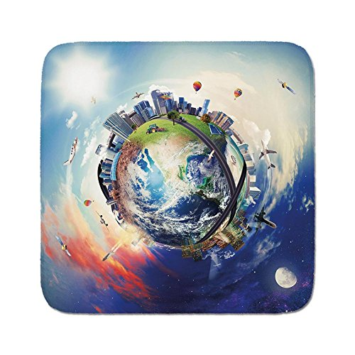 Cozy Seat Protector Pads Cushion Area Rug,World,Global View of Business World Artistic Display Buildings Air Balloons Planes Highway Decorative,Multicolor,Easy to Use on Any ()