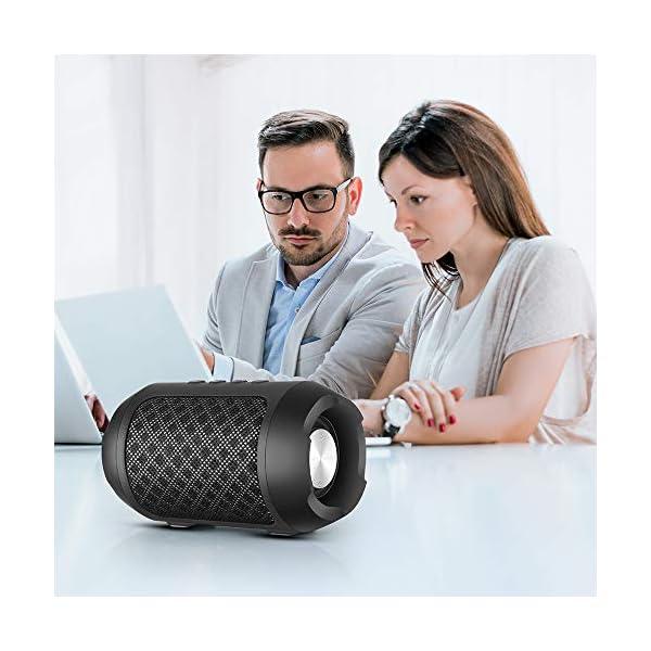 Enceinte Bluetooth Portable, 8W Enceintes Portable Haut-Parleur Bluetooth 4.2 sans Fil, avec Son 360°, Basse Améliorée, Carte TF, Mains Libres, Etanche, 12 Heures d'autonomie pour Gym/Jogging 7