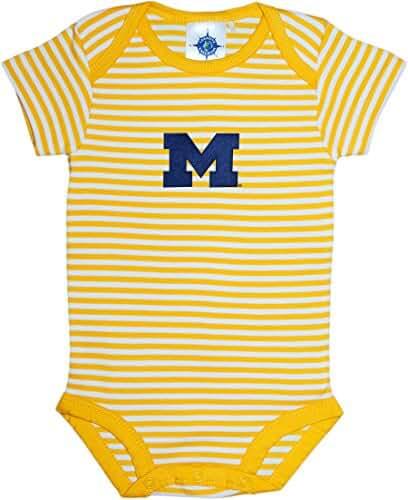 University of Michigan Wolverines Block M Striped Newborn Baby Bodysuit