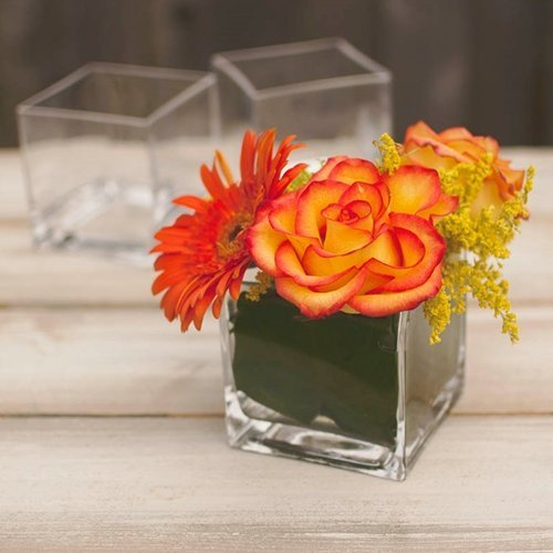 Square Glass Vase, Clear Cube, 4 x 4 inches, 12 pack