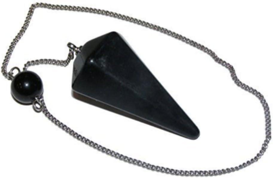 Péndulo Cono de piedra natural para adivinación, radiestesia, curación y clarividencia (obsidiana negra)