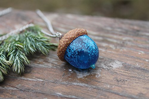 Peter Pan Glass Acorn Necklace Birthstone Turquoise, acorn ornament, made from flamework glass and an acorn cap ()
