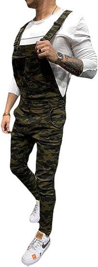 EnergyWD メンズカモビブパンツスリムフィットオーバーオールズジャンプスーツ デニムジーンズ