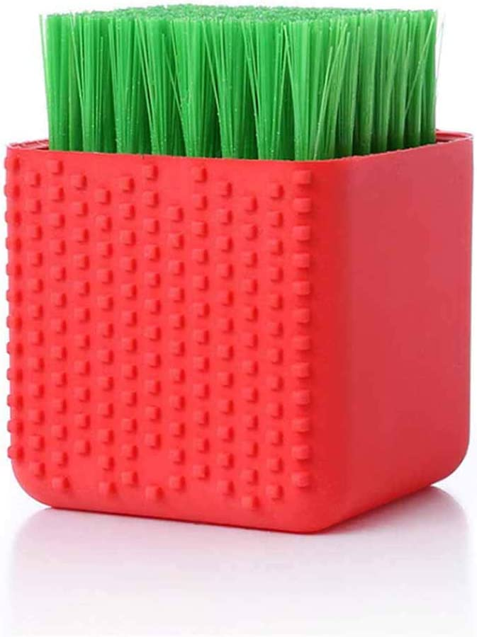 Silicone Laundry Brush Scrub Multi-use Household Cloth Washing Brush Dual-use Scrubbing Brush for Clothes Underwear Shoes, Plastic Soft Cleaning Tool(Red)
