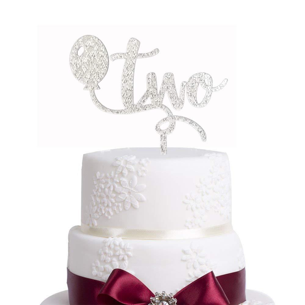 Marvelous Amazon Com Glitter Silver 2Nd Two Birthday Cake Topper Glitter Personalised Birthday Cards Arneslily Jamesorg