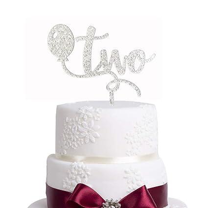 Sensational Amazon Com Glitter Silver 2Nd Two Birthday Cake Topper Glitter Funny Birthday Cards Online Inifodamsfinfo