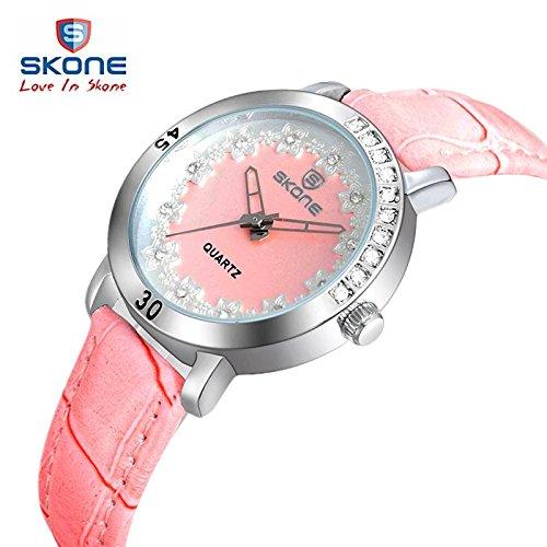 WATCH moda mujer casual cuarzo relojes marca Skone Flores Dial impermeable Ladies populares reloj de pulsera