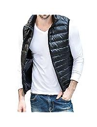 Pishon Men's Down Vest Lightweight Full Zip Stand Collar Outdoor Packable Vests