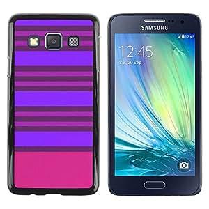 FECELL CITY // Duro Aluminio Pegatina PC Caso decorativo Funda Carcasa de Protección para Samsung Galaxy A3 SM-A300 // Purple Pink Lines Symmetric
