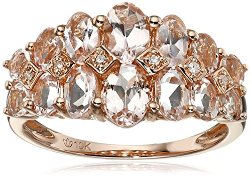 10k Rose Gold Morganite and Diamond Accented Band Ring, Size 7