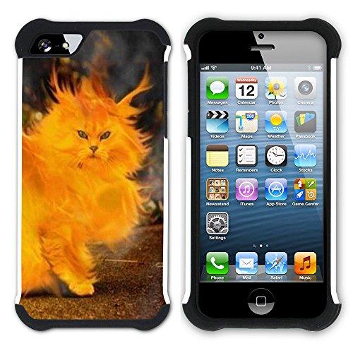 STPlus Gato en una caja Animal Doble Capa de Protección Rígido + Flexible Silicona Carcasa Funda Para Apple iPhone SE / 5 / 5S #12