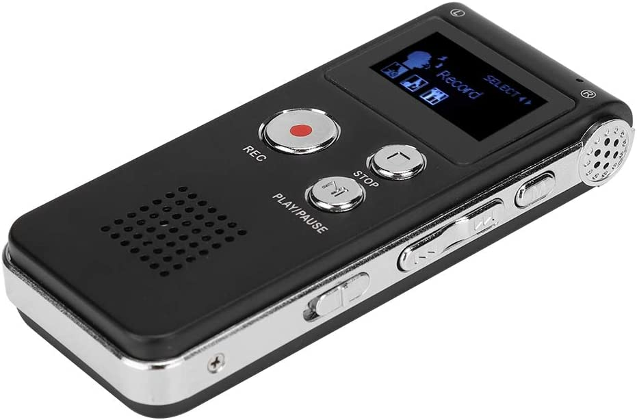 Voice Recorder MP3 Player,ASHATA 8G ABS Voice Recorder Phone Recording Lossless Music Dictation Recorder Support for Built-in//External Microphone Recording