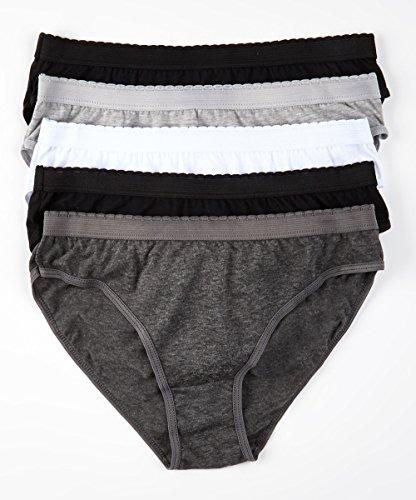5 Pack Women's Bliss Premium Cotton-Blend HI-CUT Underwear - Assorted Styles & Sizes (6, Solid)
