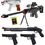 D.O.A. Lot of 5 Airsoft Guns Sniper Rifle Shotgun Machine Pistols & 1000 6mm BBs