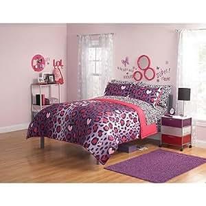 Amazon Com 2pc Girl Pink Purple Black Heart Love Leopard