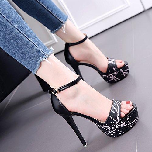 Tabla impermeable Con el dedo del pie desnudo sandalias de moda de verano de tacón zapatos de tacón alto zapatos de la marea Black