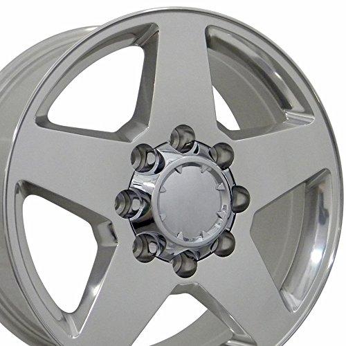 - 20x8.5 Wheel Fits Heavy Duty GMC Chevy Trucks - 8 Lug Silverado Style 2500/3500 Polished Rim, Hollander 5503