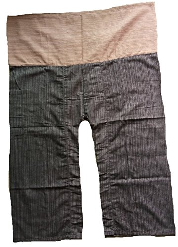 2-tone-thai-fisherman-pants-yoga-trousers-free-size-cotton-light-brown-and-brown