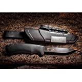 Morakniv Bushcraft Carbon Steel Survival Knife with Fire Starter and Sheath, 4.3-Inch, Black