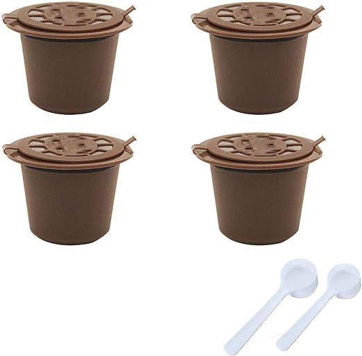 SIMUER Compatible con cafetera Nespresso Cápsulas Marrón 4 Filtros Piezas Reutilizable Recargable de Café de la Cápsula con el 2 Cuchara de Café: Amazon.es: Hogar
